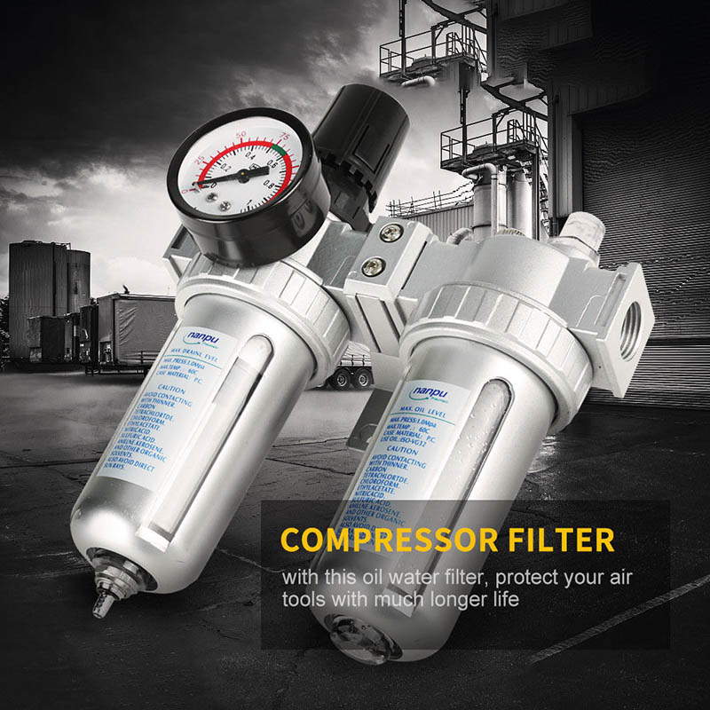G1/2 pouces compresseur d'air filtre huile séparateur d'eau piège outils avec régulateur jauge ALI88