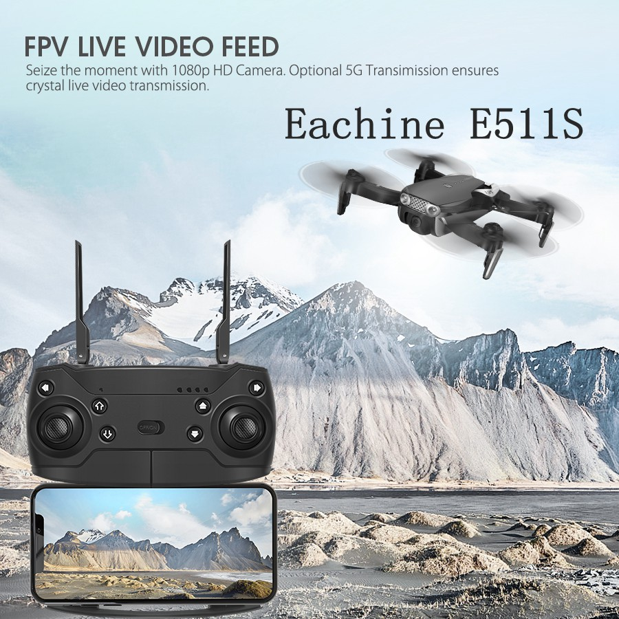 Eachine E511S 2.4G 4CH GPS 6-axis Gyro Dynamic Follow WIFI FPV With 1080P Camera 16mins Flight Time RC Drone Quadcopter