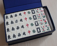 1set 20mm Table Game Mahjong with blue gift Package.Milk white.English Portable Mah jong Set.New Travel Game d12