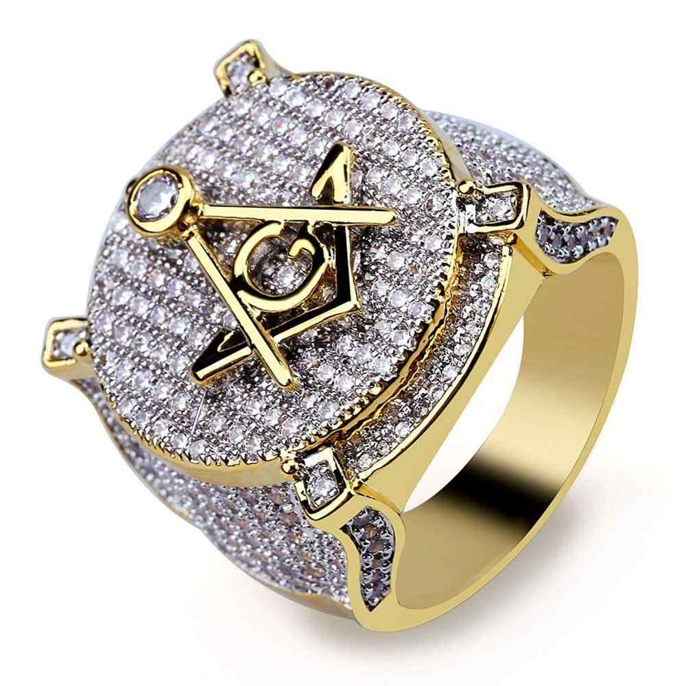 HipHop Gold Brass Micro Paved Cubic Zircon Masonic Ring Charm For Men Gifts