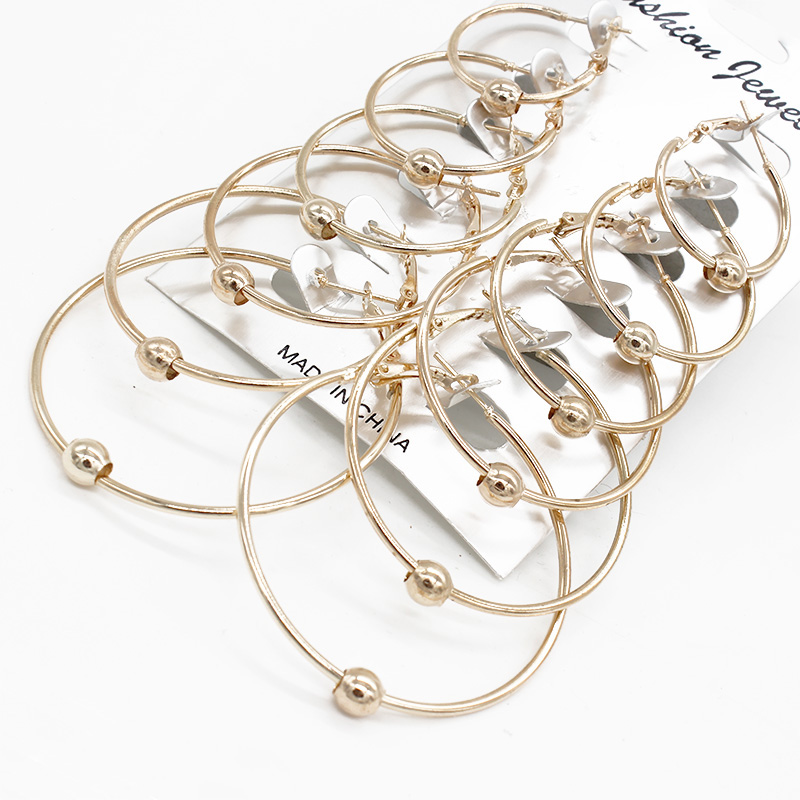 Isinyee 6 Pairs/set Vintage Big Round Hoop Earring For Women Punk Gold Silver Circle Hoops Earring Jewelry Jewelry & Accessories