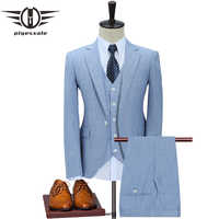 Plyesxale Slim Fit Men Suits For Wedding One Button Dark Blue Light Blue Mens Formal Suits Spring Autumn 3 Piece Suit Q353