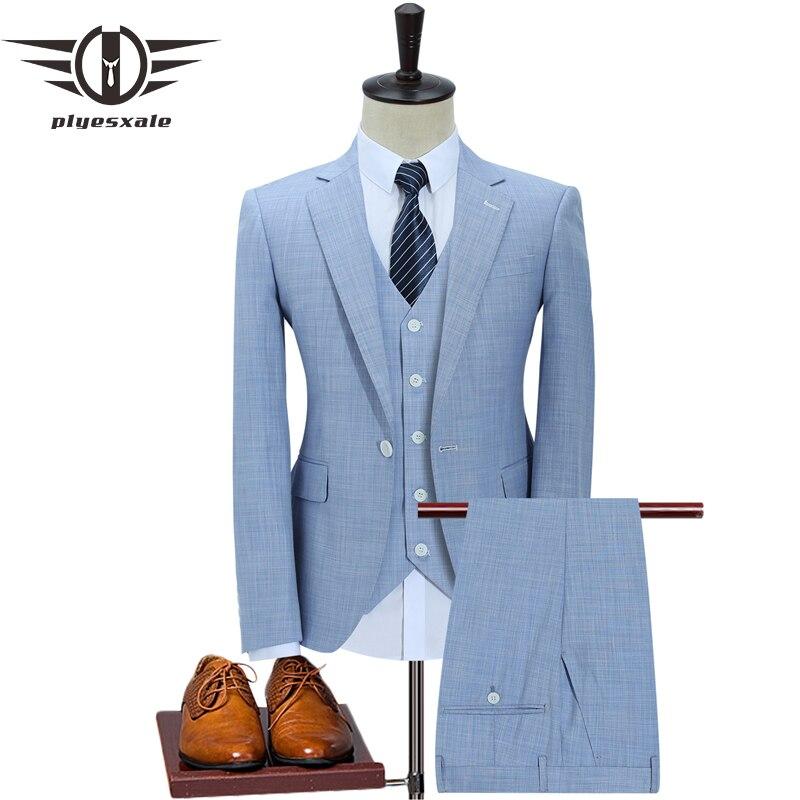 Plyesxale يتأهل الرجال الدعاوى الزفاف زر واحد كحلي الضوء الأزرق الرجال الرسمي الدعاوى ربيع الخريف 3 قطعة بدلة Q353-في بدلة من ملابس الرجال على  مجموعة 1