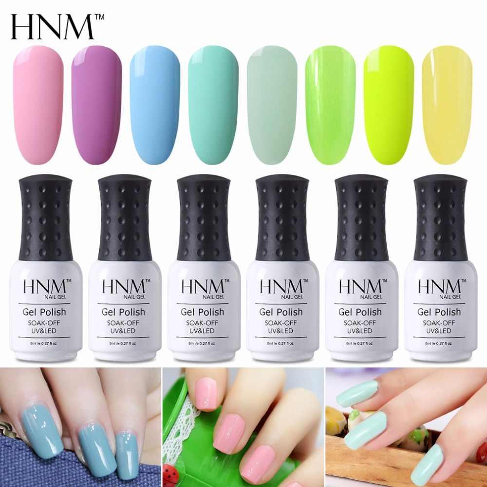 HNM 8 Ml Warna Cahaya Kuku Gel UV LED Stamping Cat Gel Varnish Telanjang Light Pink Beige Gel Cat Kuku hybrid Gellak Gelpolish