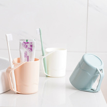 3 Colors Plain Eco-friendly Circular Water Cups with Handle Toothbrush Holder PP Cup Rinsing Wash Tooth Mug Bathroom