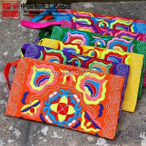 WHOLESALE 10PCS Chinese Ethnic Hmong Embroidery Phone Bags Purses Jewelry Bag