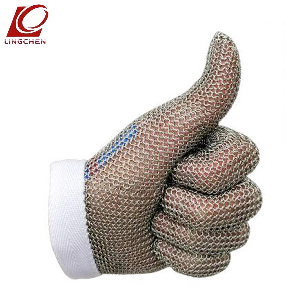 Устойчива К Порезам Перчатки Еда Класс 100% 304L Кольца из нержавейки перчатка безопасности Мясник анти-резки доказательство рабочие перчатки