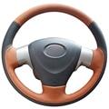 XuJi Black Orange Genuine Leather Car Steering Wheel Cover for Toyota Corolla 2006-2010 Matrix 2009