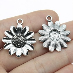 WYSIWYG 3pcs 30x25mm Sun Flower Pendants Antique Silver Color Flower Sunflower Charm Pendants Sunflower Flower Pendants