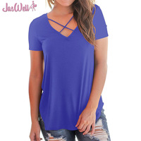 JasWell Sexy Summer T Shirt Women 2018 Cross V Neck Ripped T Shirts Bandage Loose Basic