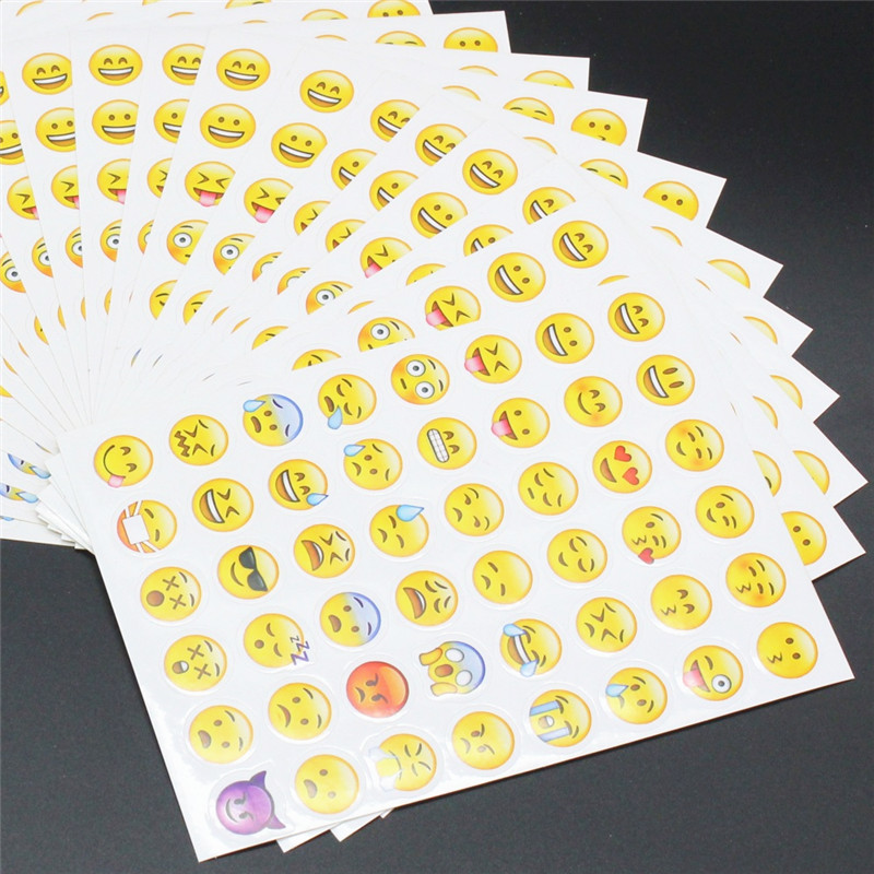 10 Sheets 48 style Emoji Stickers Hot Popular Sticker Different Emoji Smile Face Stickers For Notebook Fun Message Twitter Large 5 sheets cut sticker 48 emoji smile face stickers for notebook laptop message twitter large viny instagram