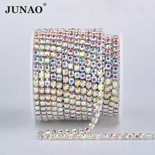 JUNAO – chaîne de Strass en verre transparent AB SS6 8 10 12 16 18, ruban de cristal, garniture en métal argenté, bande de Strass pour l'artisanat des vêtements