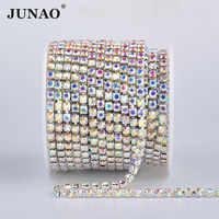 JUNAO SS6 8 10 12 16 18 Glas AB Kristall Strass Kette Silber Metall Trim Strass Band Banding Kristall Applique für Handwerk