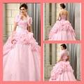 2015 formal vestidos de quinceañera con encanto Blush piso longitud de la burbuja del corsé de novia de color rosa con chaquetas flor vestido de quinceanera