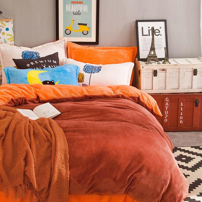 Color sólido naranja Ropa de cama conjuntos 4 unids reina king size ...