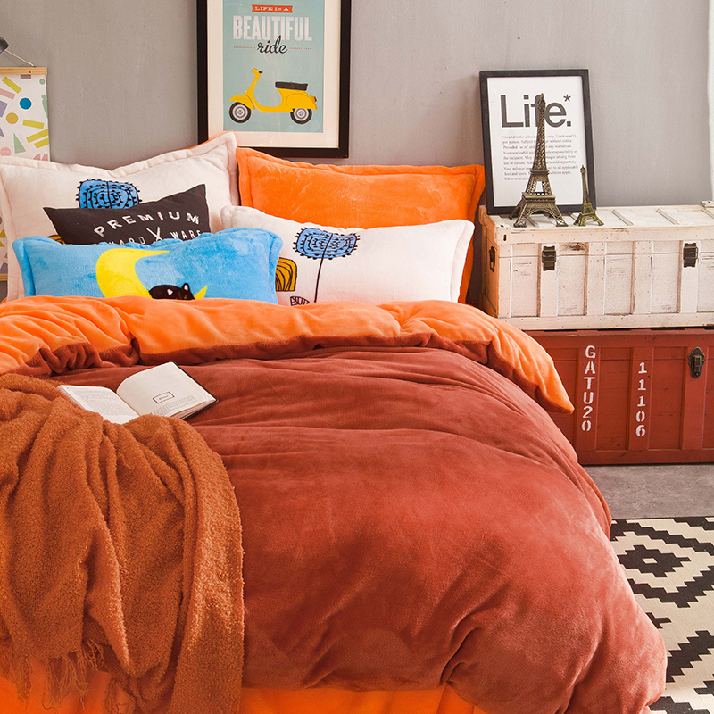 solid color orange bedding sets 4pcs queen king size flannel bedlinens duvet cover flat sheet pillow - Flannel Sheets Queen