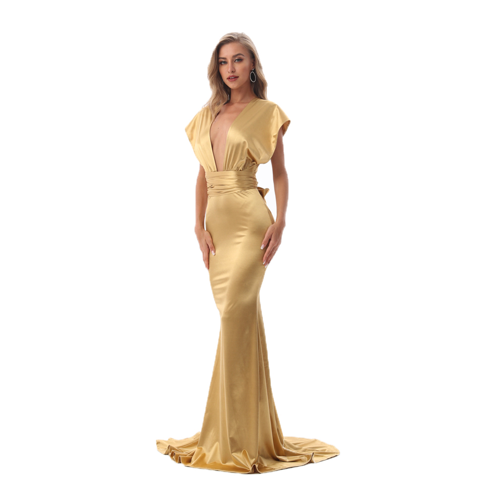 Shiny Gold Sexy Satin Long Dress DIY Straps Bodycon Backless Mermaid Maxi Dress Floor Length Stretch
