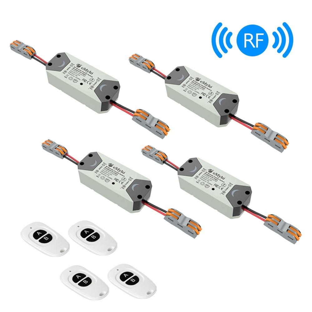 EMylo RF commutateur Module relais sans fil interrupteur de lumière DC 12 V 24 V 1 voie 433 mhz télécommande LED commutateur Smart appareil ménager 4 pièces