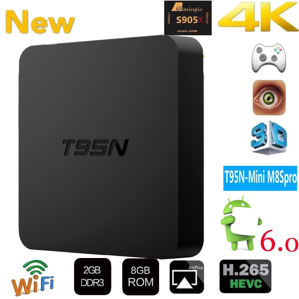 T95N Android 6.0 TV Box 1G/ 8G 2G/ 8G Amlogic S905 Quad core cortex-A53 Support HDMI 2.4GHZ Media Player top box newest h8 android 6 0 tv box amlogic s905x quad core cortex a53 2g 8g smart android tv box