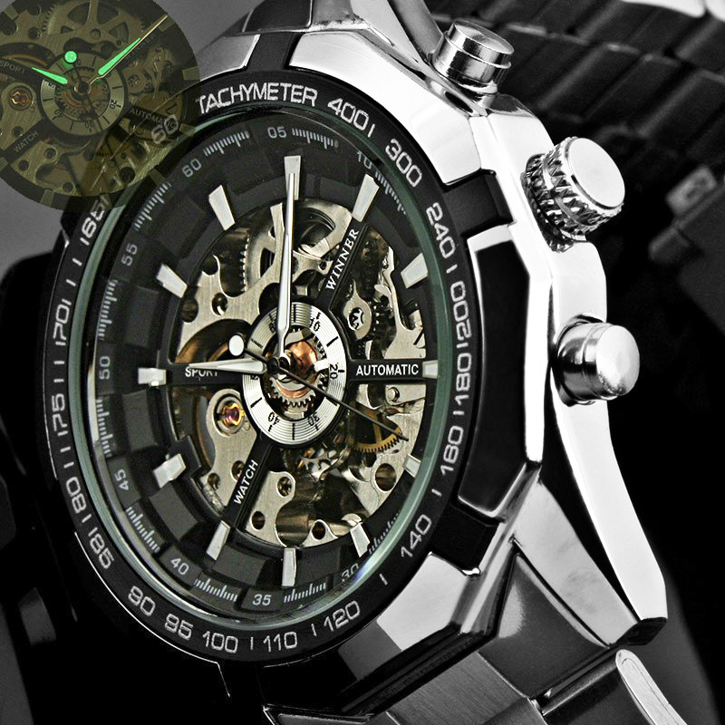 Automatic Watch Men's Classic Transparent Skeleton Mechanical Watches Military FORSINING Clock  With Box