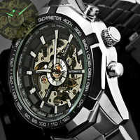 WINNER Automatic Watch Men's Classic Transparent Skeleton Mechanical Watches Military FORSINING Clock Relogio Masculino With Box