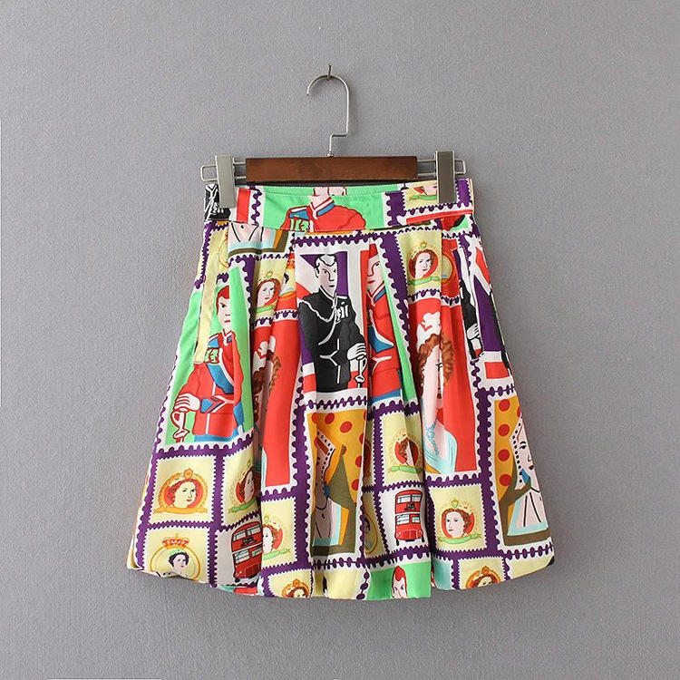 2018 Summer New Character Print Vintage Hight Waist Floral Print Pleated Skirts Women Elegant have linings WQZ34251
