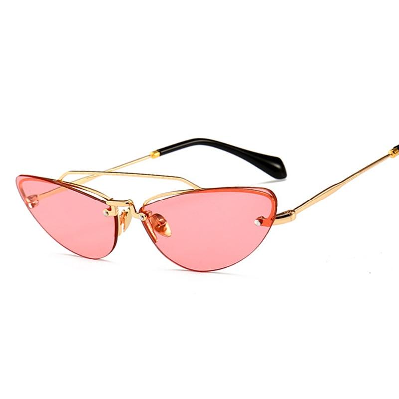 Kattögon smala solglasögon för kvinnor Vintage Design Rimless - Kläder tillbehör - Foto 3