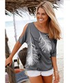 2016 New arrival summer tops off shoulder t shirt women tops cropped Short Sleeve Loose feathers printing camisetas mujer Qa22