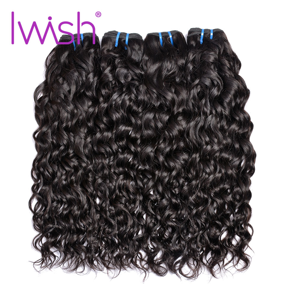 Iwish Hair Water Wave 4 Bundle Deals Malaysia Water 100% Real Human Hair Weave Bundles Extension Non Remy Weaves Natural Color