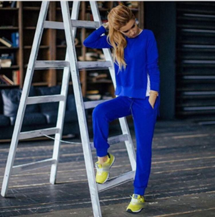 Women Tracksuit Long Sleeve Slit Solid Sweatshirts Casual Suit Women Clothing 2 Piece Set Tops Pants Sporting Suit Female 11