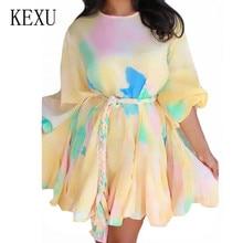 KEXU Autumn Women Long Sleeve O Neck Patchwork Pleated Short Dress Retro Rainbow Gradient Mini Loose Ladies Casual Female