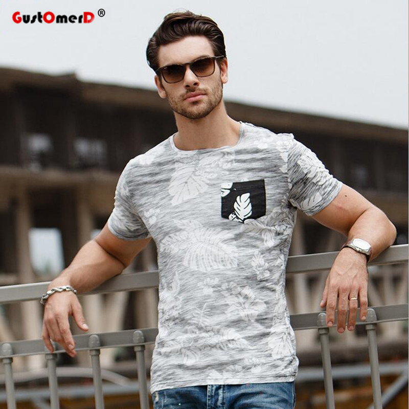 GustOmerD Brand New T-shirt Patchwork Tryckt T-shirt Man's Fashion Pure Bomull T-shirt Herr O-Neck Trend Tillfällig T-shirt S-XXL