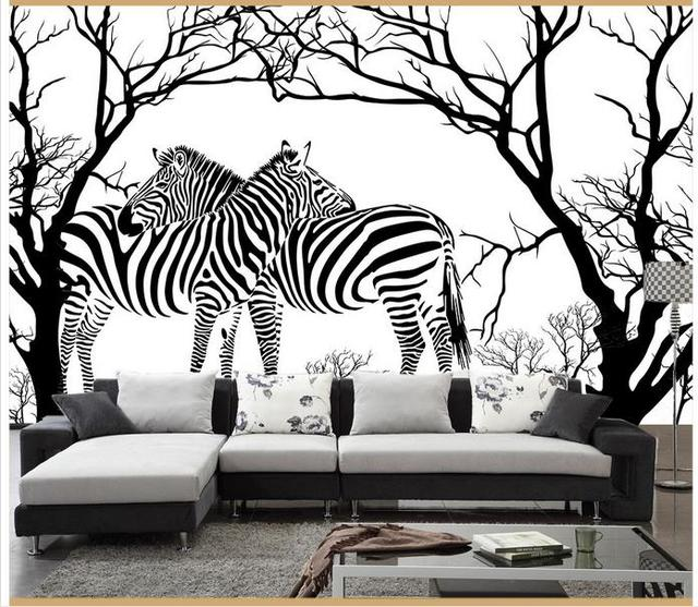 Customized 3d Wallpaper 3d Wall Murals Wallpaper Black And White Tree Zebra  Sitting Room Sofa Background Part 35