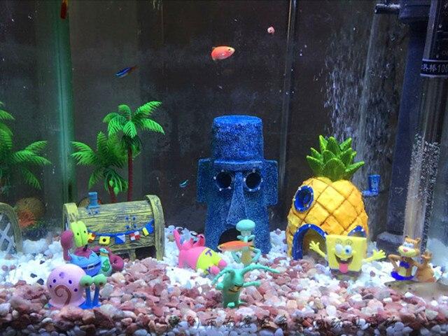 8 stks/partij Aquarium Aquarium Decoratie Spongebob