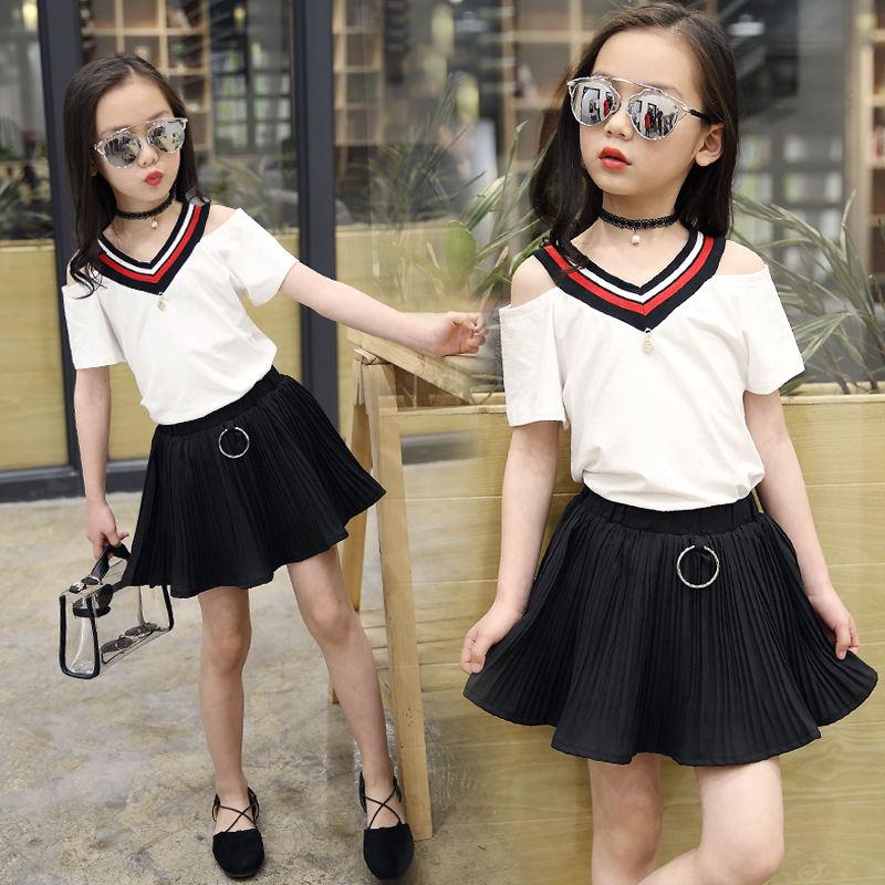 Teenage for Girls clothing set summer girls sport suit off-shoulder Children clothes school kids tracksuit striped t shirt skirt