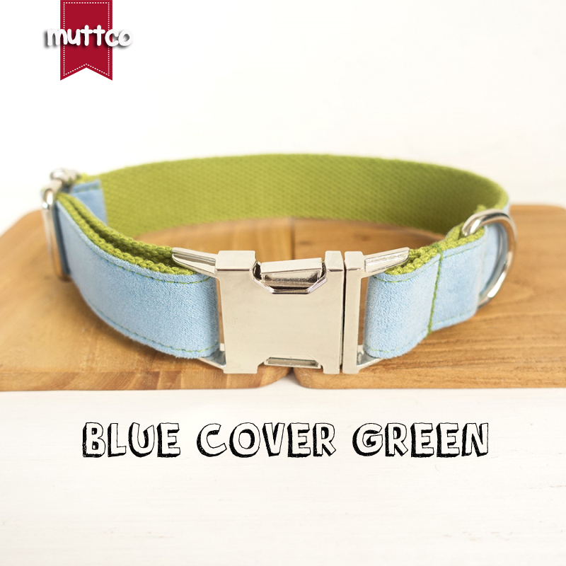 MUTTCO retailing self-design collar BLUE COVER GREEN handmade collar poly satin and nylon wathet blue and green 5 sizes UDC033