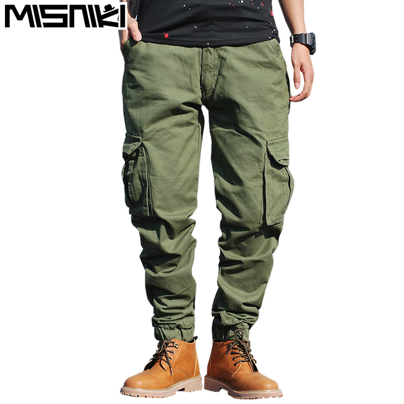 2017 new winter men cargo pants solid color joggers military sweatpants 29-38 CYG290