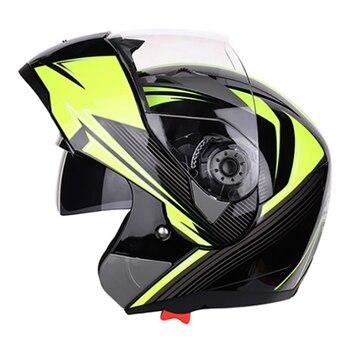 JIEKAI Flip Up Motorcycle Helmet Motocross Breathable Comfort Crash Helmet Moto Doublel Lens Full Face Helmet For Motorcycle