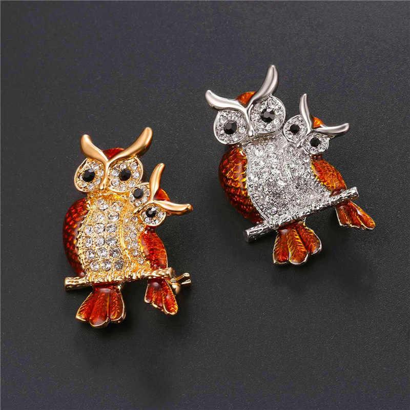U7 Owl Bros Wanita Perhiasan Kostum Partai Bridesmaid Hadiah untuk Nya Indah Lucu Berlian Imitasi Bros Kerah Pin 2017 Baru B128