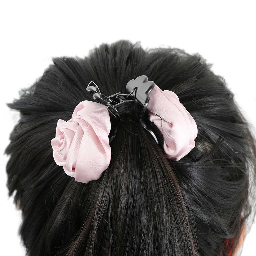 1 ADET Sıcak Moda Bayan El Yapımı Gül Gül Yengeç Kelepçe Saç Pençeleri Klipler saç aksesuarları Kadınlar Kızlar Için Saç Çiçek Tokalar