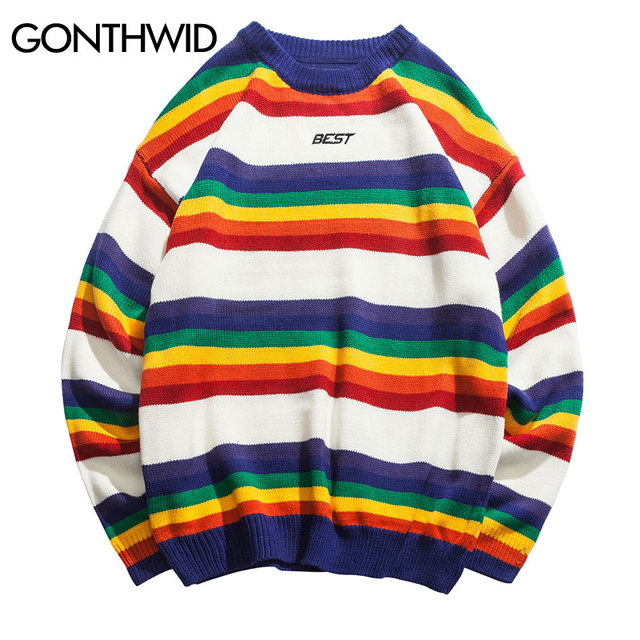 39c589e392e GONTHWID Harajuku Rainbow Striped Knitted Pullover Sweaters Men Hip Hop  Patchwork Streetwear 2018 Male Fashion O-Neck Sweater