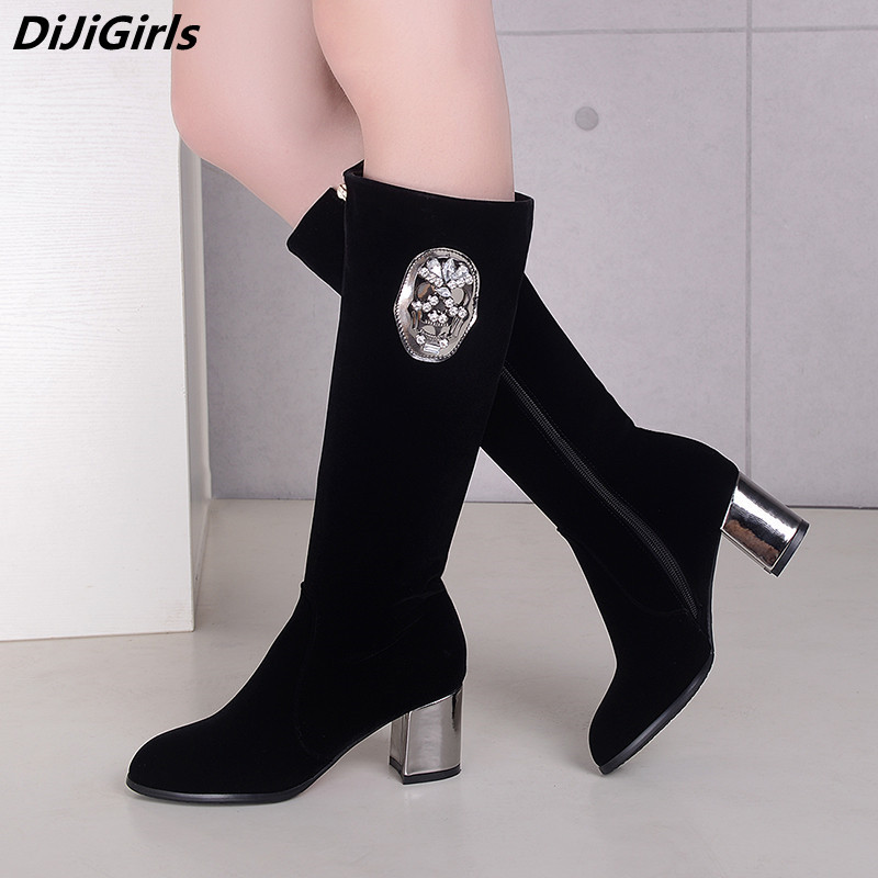 Funny Skull Boots For Women Black Knee High Boots Thick Heel High Heels Autumn Winter Boots Womens Shoes Zipper Riding Boots new bottes femmes 2015 calzado mujer autumn winter knee high boots suede womens chunky thick heels sexy fashion winter boots
