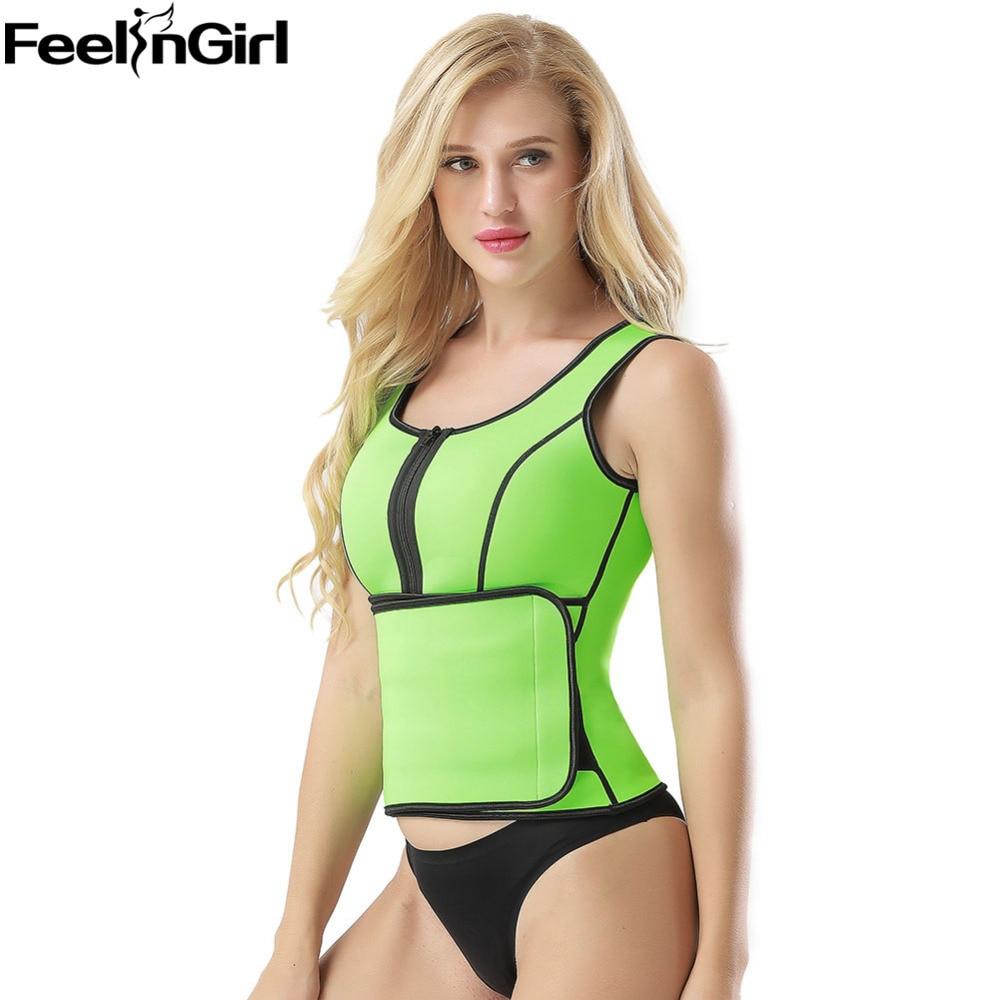 FeelinGirl Neoprene Slimming Waist Body Shaper Slim Waist Belt Tummy Control Zip Corset Vest Weight Loss Shapewear -C