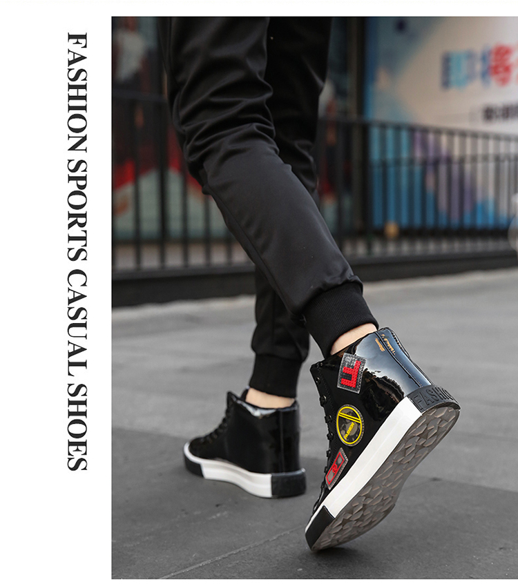 2018 Men leather casual shoes hip hop Gold fashion sneakers silver microfiber high tops Male Vulcanized shoes sizes 46 8