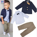 2015 Autumn Boys Clothing Gentleman Sets Handsome Denim Children jacket+shirt+pants 3pcs/set children's clothing free shipping