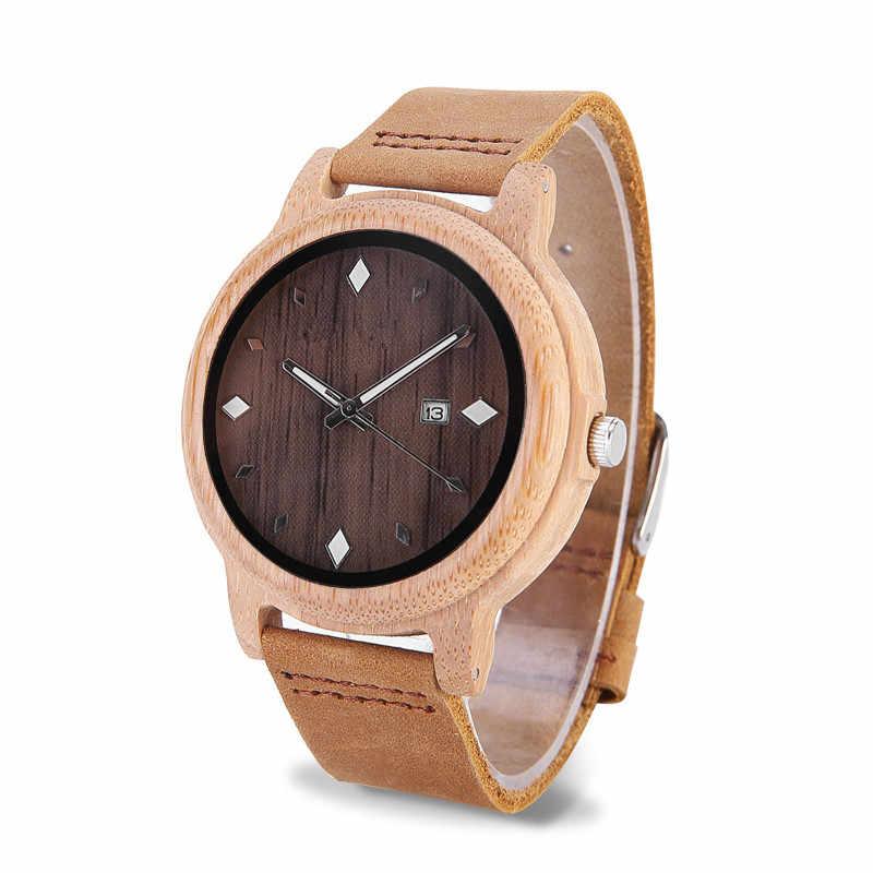 Relojes para hombre ELMERA de madera para mujer, correa de cuero de bambú, relojes con estilo para hombre, reloj de madera minimalista