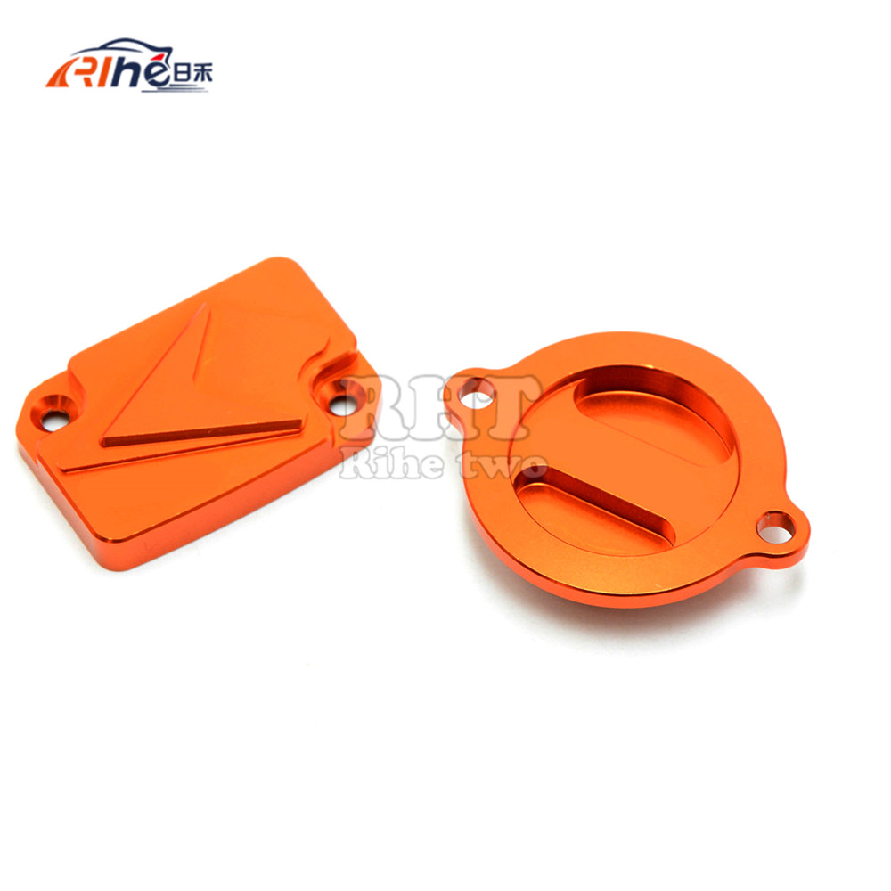 motorcycle cnc front&rear brake master cylinder reservoir cover cap orange For KTM DUKE 125 200 390 RC200 RC390 2012 2013 2014 for ktm logo 125 200 390 690 duke rc 200 390 motorcycle accessories cnc engine oil filter cover cap