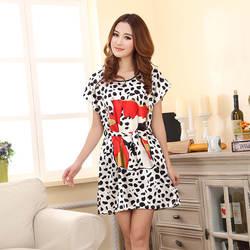 Летом коровы шаблон рубашки пикантные шелковые Для женщин Ночная рубашка Ice Шелковый О-образным вырезом Женские рубашки плюс Размеры M, L, XL