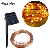 Solar Christmas Light 10M 20M Bendable Waterproof 8 Modes Copper Wire High Efficiency Outdoor Solar String