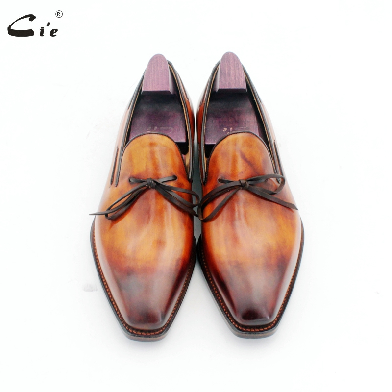 cie square toe bow tie patina brown boat shoe handmade men's slip-on casual goodyear welted full grain calf leather loafer 186